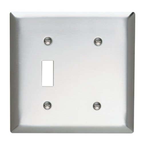 (Legrand-Pass & Seymour SS114 Pass & Seymour Stainless Steel 2 Gang 1 Toggle 1 Blank Wall Plate)