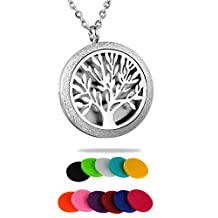 HooAMI Tree of Life Aromatherapy Essential Oil Diffuser Necklace - Stainless Steel Locket Pendant