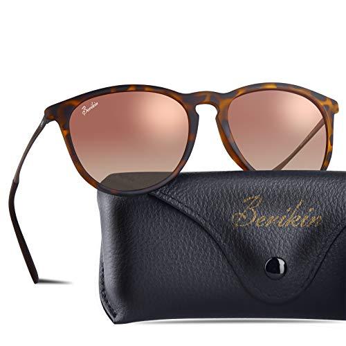 BERIKIN Polarized Classic Round Sunglasses Plastic Tortoise Frame Polycarbonate Brown Gradient Lenses For Men Women 100% UV400 ()
