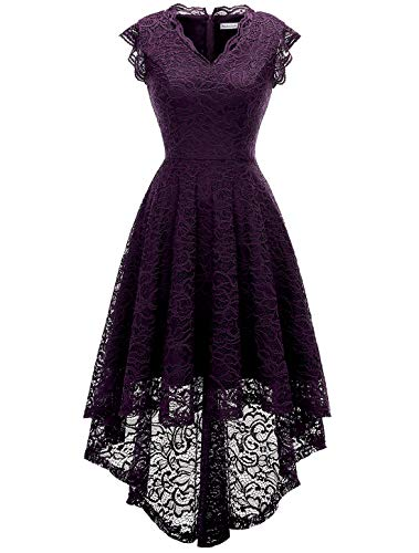 Floral Cocktail Party Dress - MODECRUSH Womens Ruffle Sleeve Bridesmaid Formal Hi Lo Floral Lace Cocktail Party Dresses V Neck 2XL Grape