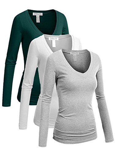 ual Basic V-Neck Tshirt Long Sleeves Tee Top - 3Pk - Green Teal, White, Hgray - 3XL ()