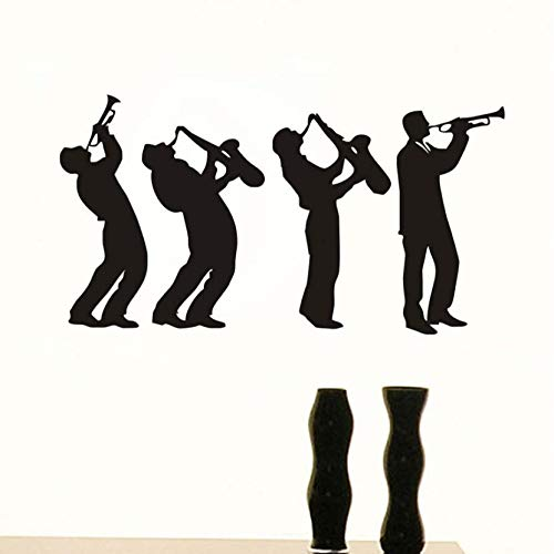 - Music Group Art Design 4 Musician Wall Stickers for Kids Room Boys Playing Saxophone Silhouette Wall Decals Home Decor