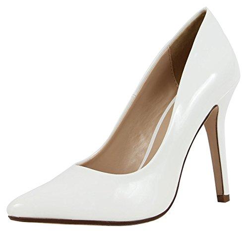 Soda Women's Closed Pointed Toe Stiletto Heel Dress Pump (7.5 B(M) US, White Patent)