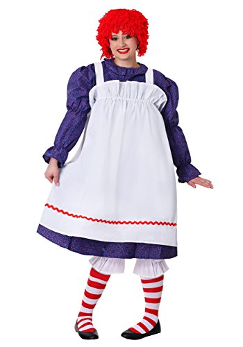 Fun Costumes Raggedy Rag Doll Plus Size Costume 3X Royal,white,red -