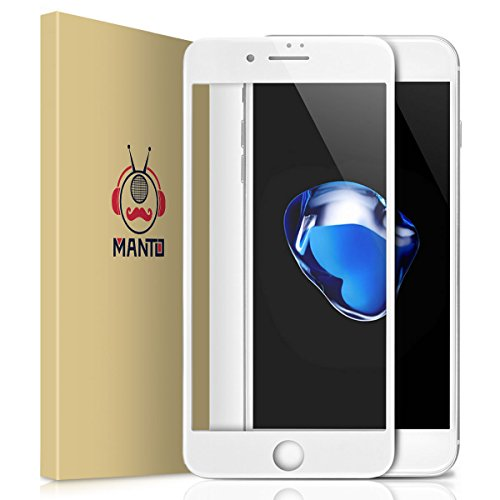 Manto iPhone 8 7 Screen Protector, Full Coverage Tempered Glass Screen Protector Film Edge to Edge Protection for Apple iPhone 7, iPhone 8, 4.7 Inch, (White Tempered Glass)