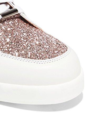 ZXD Mercury - Calzado para Shows Glitter Purpurina Y Cuero PU Suela de Goma PU Sin Logotipo Unisex Zafiro Rosa