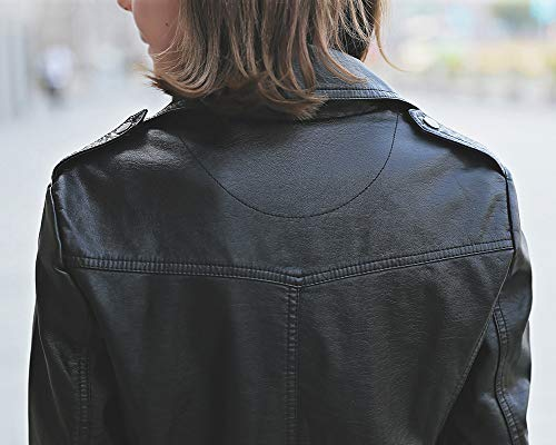 Bomber In Lunghe Moto Pelle Vintage Giacche Donna Biker Pu Cappotto Maniche Nero Elegante Giubbotto 6vP4wgqWF