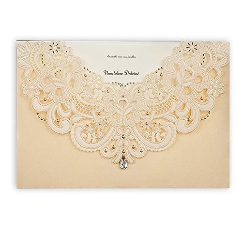 Wishmade 12x Gold Laser Cut Flora & Lace Wedding Invitations Kit With Rhinestone Matched With RSVP & Thank You Card CW6115