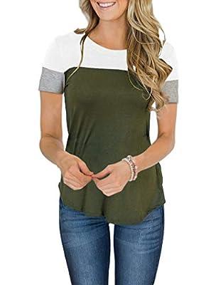 Minthunter Women's Long Sleeve Short Sleeve Crew Neck Cute Tunic Color Block Tops