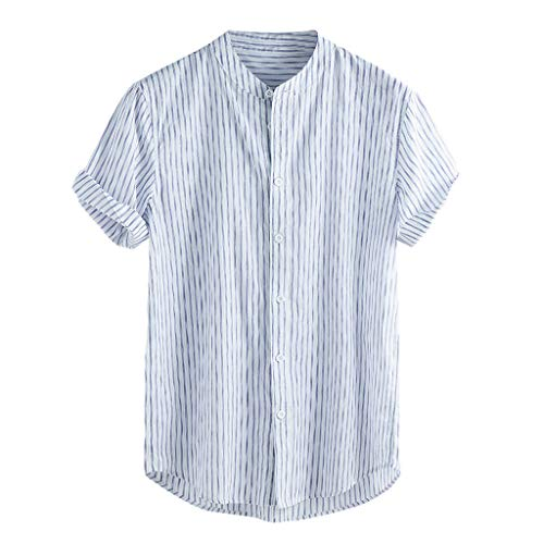iYBUIA Men's Vintage Linen Baggy Striped Print Mandarin Collar Short Sleeve Retro Henley T-Shirts Blouse -