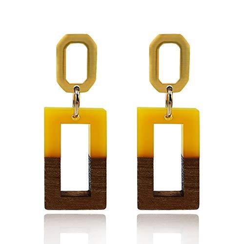 Lightweight Dangle Earrings for Women Girls Retro Geometric Brown Natural Wood Resin Hypoallergenic Drop Earrings with Nice Jewelry Box