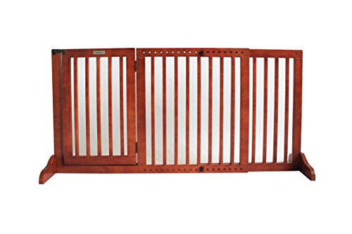 - Simply Plus Deluxe Wooden Pet Gate, Freestanding Pet Dog Gate, for Indoor Home & Office Use. Keeps Pets Safe Easy Set Up, No Tools Required-Medium
