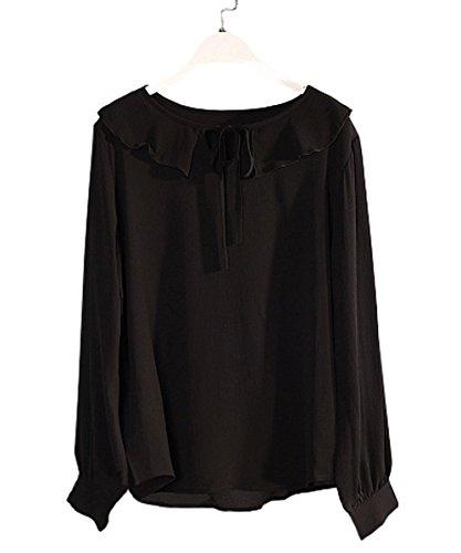 PurpuraErizo Mujeres Camisa De Gasa Con Lazo Camisas Con Manga Larga Blusa Negro