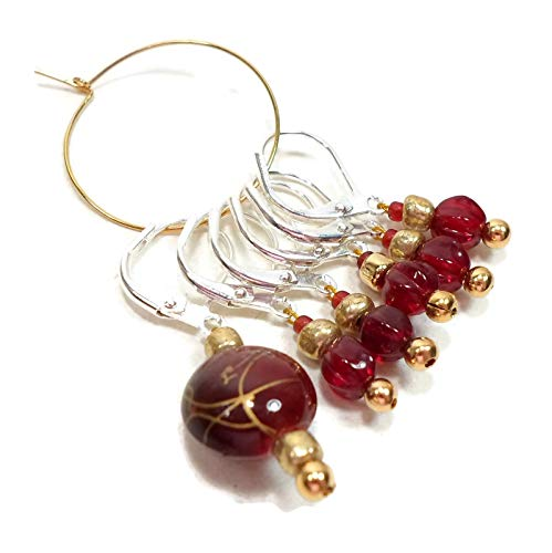 Burgundy, Gold Removable Beaded Stitch Markers