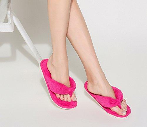 Plush Slip Slippers Indoor Anti Women Fushcia for Flops Toe Open Flip xnX04qS06