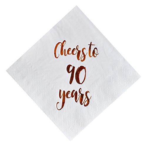 Cheers to 90 Years Cocktail Napkins, 50-Pack 3ply White Rose Gold 90th Birthday Dinner Celebration Party Decoration Napkin]()