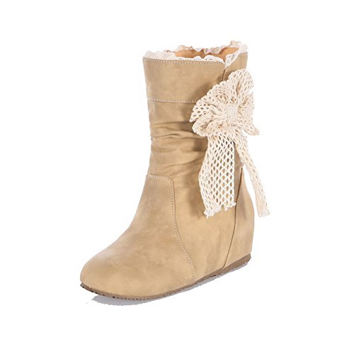 Heels Boots On Low Low Round Women's AmoonyFashion Pull Toe apricot Frosted Top Closed f0WFZwAq