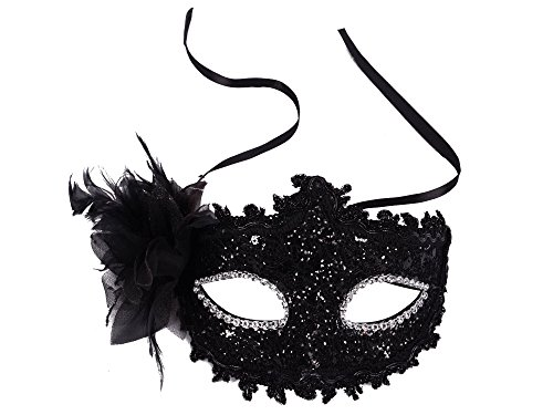 Venetian Eye Mask Fancy Dress Accessory w/ Feather Flower