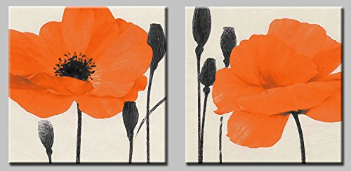 Decor Well 2 Pieces Modern Orange Floral Prints Canvas Art Wall Decoration, Poppies Wall Decor