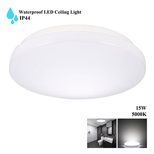 Contemporary Overhead Flush Lighting (S&G LED 15W IP44 Waterproof Ceiling Lights, 100W Incandescent Bulbs Equivalent, 1050LM, 28.5cm/ 11.2in LED Flush Mount Ceiling Lights, 5000K Daylight White)