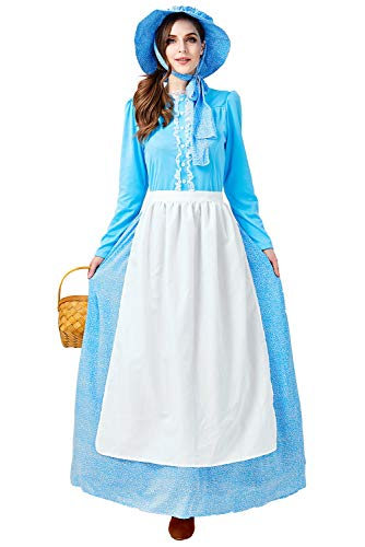 Womens Girls Colonial Pioneer Costume Dress Halloween Cosplay Vintage Pastoral Pilgrim Dress Up Outfit (L, Adult 3)]()