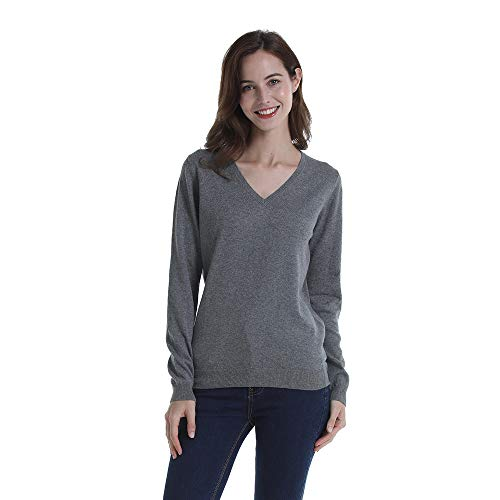 Peplum Pointe Women Basic Solid 100% Cotton Soft Ribbed V-Neck Long Sleeve Knitted Pullover Sweater Grey Medium ()