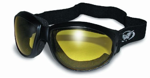Red Baron Motorcycle / Aviator Goggles Black Padded Frame w/ Yellow Lens by Global Vision Eyewear