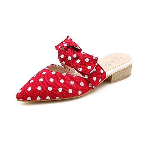 Loafers Slippers Eithy Women Shoes Pointy For 5 Size 10 Dot 5 Mules White 5 Toe Black Slip Red Backless Polka On Wx11Zngr