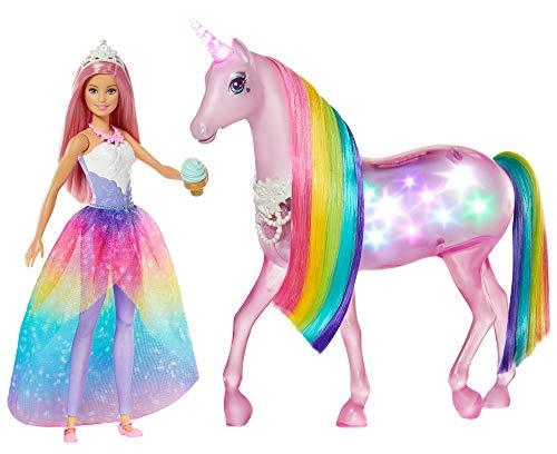 Barbie Dreamptopia Muñeca con pelo rosa y su unicornio luces mágicas Mattel GWM78
