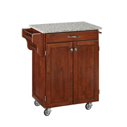 (Create-a-Cart Cherry 2 Door Cabinet Kitchen Cart with Salt and Pepper Granite Top by Home Styles)