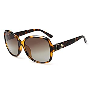 CHB women's polarized wayfarer sunglasses retro square oversized sunglasses UV400 (Leopard frame, As images show)