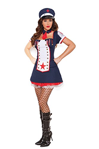 [Female Naval Knockout Light up Halloween Roleplay Costume 3pc Set (L, Navy)] (Knock Out Costumes)