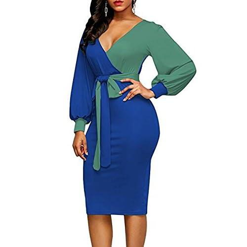 a6988aa3e7 Vestidos Mujer Elegante Primavera Otoño Manga Larga V Cuello Slim Fit  Encima Rodilla Vestido Bicolor Cinturón