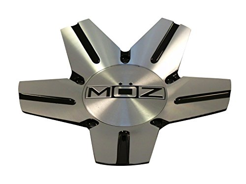 Moz Wheels 938-AL-CAP Silver / Black Metal Custom Wheel Center Caps (1 CAP) (Moz Wheels)