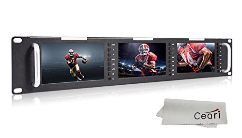 FEELWORLD T51 Triple 5 Inch 2RU 800x480 Pixel Broadcast Rack Mount LCD Monitor with 3G-SDI, HDMI, AV Input and Output with Microfiber Cloth