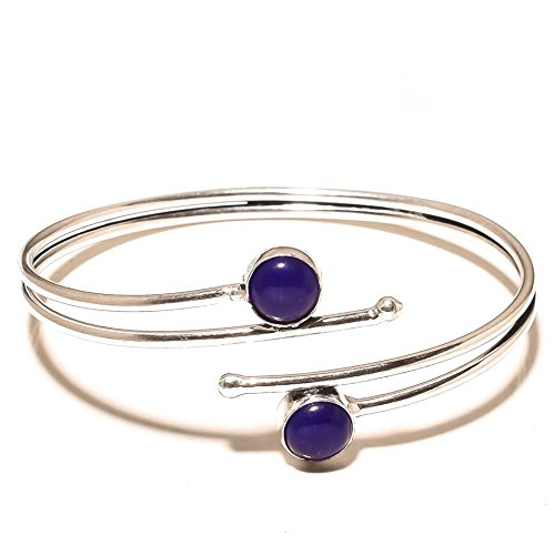 Woman's Choice! Handmade Jewelry! Blue Dyed Sapphire Sterling Silver Overlay 13 Grams Bangle/Bracelet Free Size