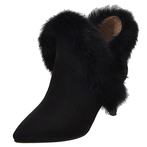 Fur Boots Black Winter Womens AIYOUMEI With Boots Pointed Sexy Wedding Party Heel Zip Shoes Kitten Ankle Toe zpS0Txqw