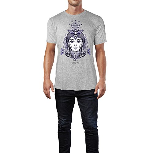 SINUS ART ® Handgemaltes Portrait von Queen Bee mit Bienen Herren T-Shirts in hellgrau Fun Shirt mit tollen Aufdruck