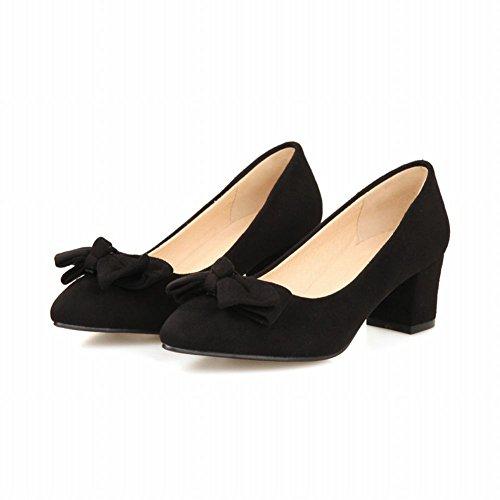 Carolbar Chic Mujeres Bows Elegance Moda Punta Estrecha Grace Chunky Vestido De Tacón Medio Bombas Zapatos Negro