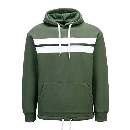 PTSports Mens Pullover Colorblock Hoodies Sweatshirts Fleece Jacket, Olive, X-Large