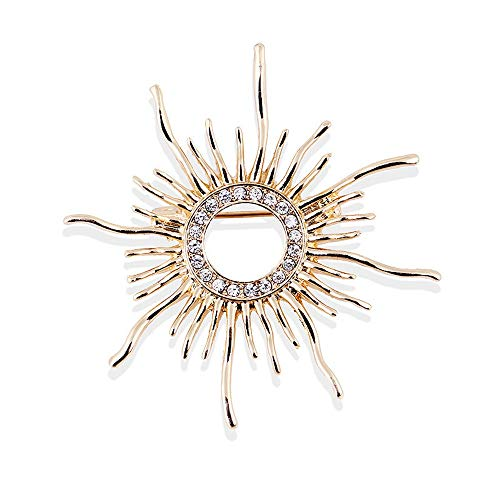 (Star and Sea Vintage Sun Flower Round Sunshine Pin Brooch Dress Decorations Collar Suit Crystal Brooch for Unisex)