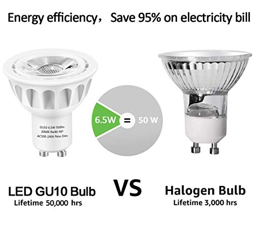 GU10 LED Bulbs, LEDMEI 6 Pack GU10 Led Light Bulbs, 50W Halogen Bulb Equivalent, 120 Volt, 6.5W 550lm, 3000K Warm White, 40° Beam Angle Spotlight, UL Listed, Non-Dimmable