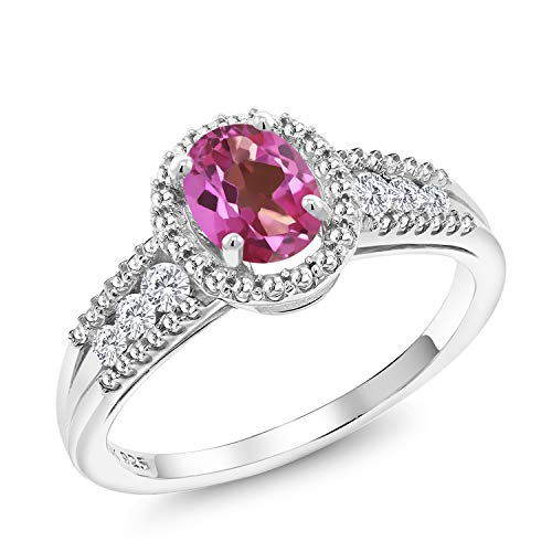 Gem Stone King 1.04 Ct Oval Pink Mystic Topaz White Created Sapphire 925 Sterling Silver Ring (Size 8)