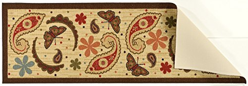 Ottomanson Sara's Kitchen Paisley Design Mat Runner Rug with Non-Skid (Non-Slip) Rubber Backing, Beige, 20'' x 59'' by Ottomanson (Image #2)