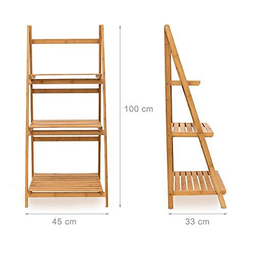 Relaxdays Leiterregal Bambus H x B x T: 100 x 45 x 33 cm Badregal ...