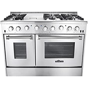 Good Thor Kitchen Gas Range With 6 Burners And Double Ovens, Stainless Steel