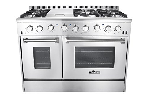 Dual Fuel Freestanding Cookers (Thor Kitchen Gas Range with 6 Burners and Double Ovens, Stainless Steel)