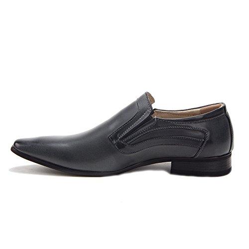 Nieuwe Heren 98235 Lederen Gevoerde Puntige Slip Op Soepele Loafers Schoenen Grijs