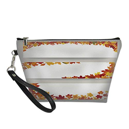 makeup organizer bagwaterproof cosmetic bagFall leaves banner set Swirl autumn leaf background Nature border decor collection 8.5