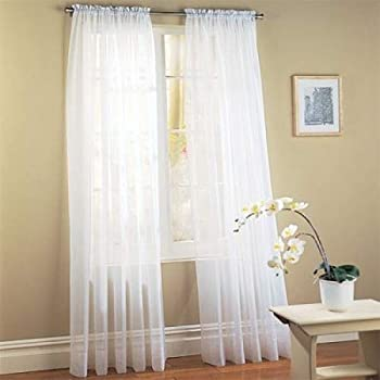 Jasmine Linen 2 pc Sheer Luxury Curtain Panel Set for Kitchen/Bedroom 84